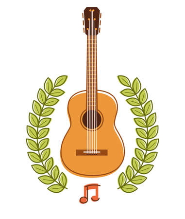 Acoustic guitar with laurel wreath vector emblem for festival or concert or player isolated on white, live music theme, logo for musical recording label, instruments shop.