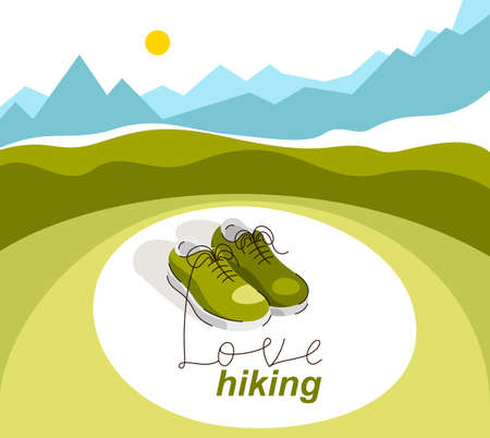 Sneakers on nature background with lettering vector concept illustration of hiking or travel, active lifestyle, outdoor trip.