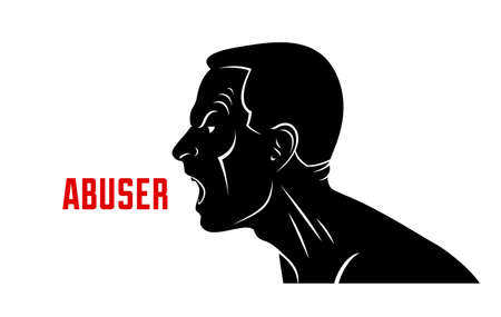 Abuse verbal aggression and anger man face profile screaming and shouting vector illustration isolated on white background.
