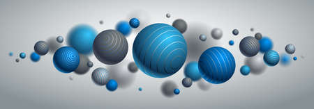 Abstract spheres vector background, composition of flying balls decorated with lines, 3D mixed realistic globes, realistic depth of field effect.