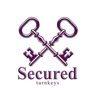 Crossed keys, vintage antique turnkeys vector logo or emblem, protected secret, electronic data protection, keys to heaven, hotel label, keep secret.