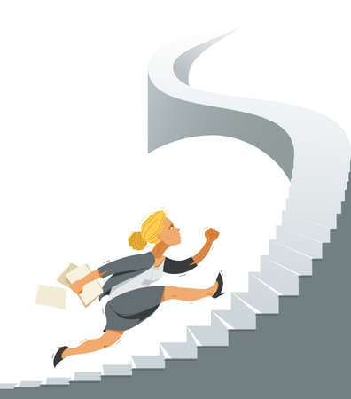 Business woman run and hurry on stairs up high vector illustration, funny comic cute cartoon businesswoman worker or employee inspired to career growth success. 向量圖像