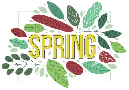 Big spring word surrounded by green fresh leaves of European forests vector flat style illustration isolated on white, beauty of nature concept.