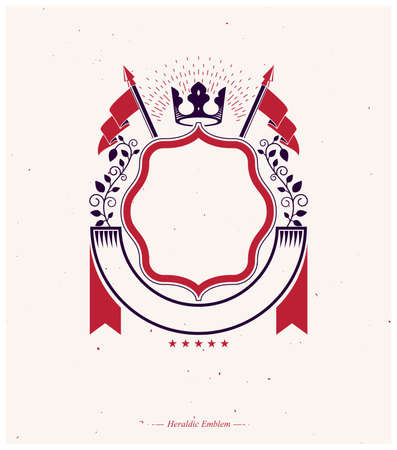 Graphic emblem composed with royal crown element, luxury ribbon and flags.Heraldic Coat of Arms decorative logo isolated vector illustration.