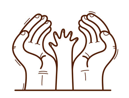 Two hands and small child palm protecting and showing care vector flat style illustration isolated on white, cherish and defense for childhood concept, charity.