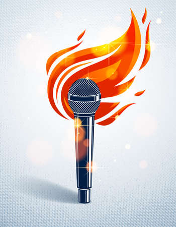 Microphone on fire, hot mic in flames, rap battle rhymes music, karaoke singing or standup comedy, vector logo or illustration, concert festival or night club label, t-shirt print.