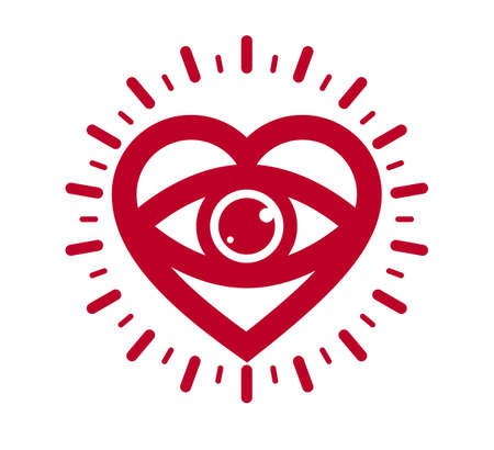 You look great concept cheerful greeting vector design element, compliment stylish retro design created with heart and eye, creative icon or logo, dating valentine day theme.