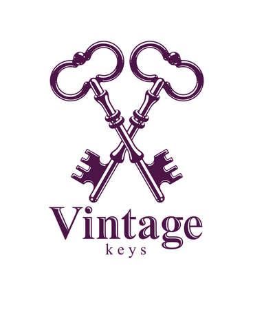 Crossed keys, protected secret, electronic data protection, keys to heaven, hotel label, vintage antique turnkeys vector logo or emblem.