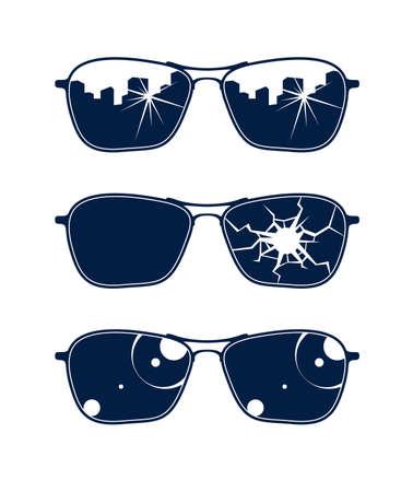 Sunglasses vector set, stylish eyeglasses fashion design elements. Vektoros illusztráció