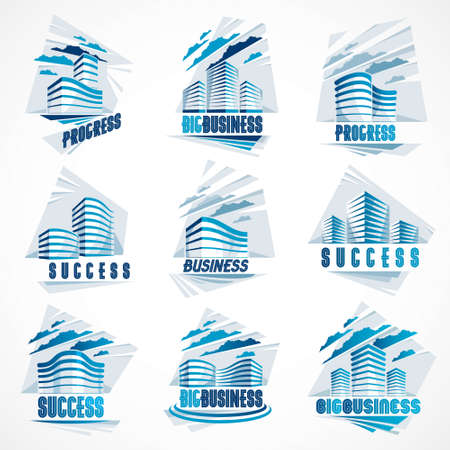 Business buildings set, modern architecture vector illustrations collection. Real estate realty office center designs. 3D futuristic facades in big city. Can be used as a logos or icons.