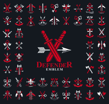 Weapon emblems vector emblems big set, heraldic design elements collection, classic style heraldry armory symbols, antique knives armory arsenal compositions. Vettoriali