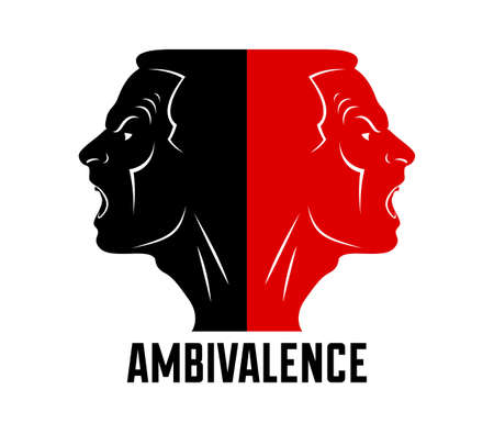 Ambivalence inner conflict and bipolar disorder mental health vector conceptual illustration or logo visualized by two face profiles screaming and shouting in anger.