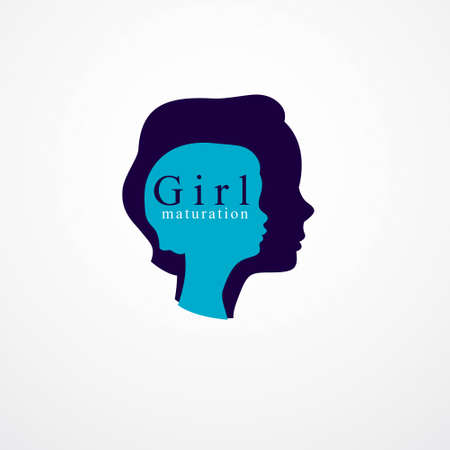 Girl growing to adult age years concept illustration, from child to teen and woman, period and cycle of life, getting old, maturation and aging. Vector simple classic icon or logo design.