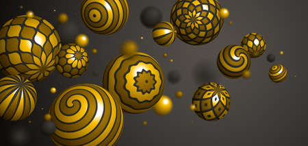 Abstract golden spheres vector background, composition of flying balls decorated with patterns of shiny gold, 3D mixed variety realistic globes with ornaments, realistic depth of field effect.