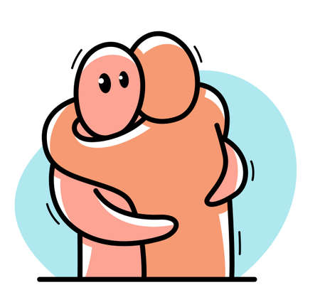 Two funny cartoon men hugging each other funny cartoon flat style vector illustration isolated, friends or lovers partners trust darling people supporting each other concept. Illustration