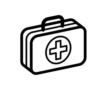 First aid medical kit vector illustration isolated on white background, doctor fast help or vaccination concept, emergency accident assistance. Illustration