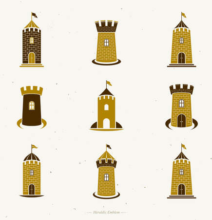 Ancient Forts emblems set. Heraldic Coat of Arms decorative isolated vector illustrations collection.