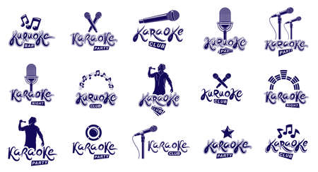 Karaoke party or club   emblems vector set isolated, singing music nightlife entertainment weekend theme, microphones and musical notes compositions. Illustration
