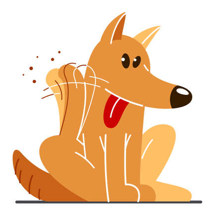 Funny cartoon dog itching and scratching vector flat style illustration isolated on white, cute and adorable domestic animal friend.