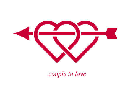 Double two hearts with cupid arrow from bow vector icon   wedding and couple concept romantic theme, care and togetherness, two linked hearts connected. Illustration