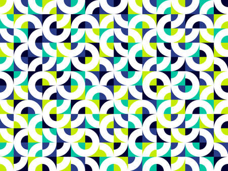 Abstract vector geometric seamless pattern, color simple geometric elements repeat tiles, wallpaper or website background, design background in retro style.