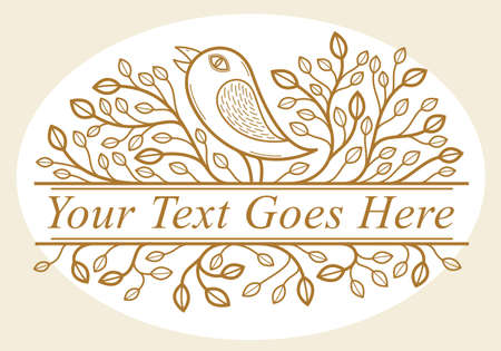 Beautiful bird on a branch linear floral vector design isolated on white, leaves elegant text divider border element for layouts, fashion style classical emblem, luxury vintage graphics. Illustration