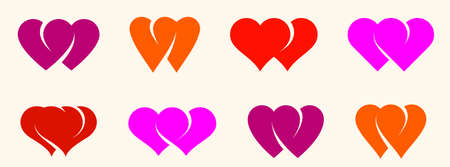 Double two hearts vector icons  set, wedding and couple concept romantic theme, care and togetherness, two linked hearts connected. Illustration
