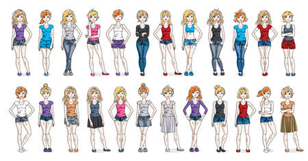 Casual wear clothes cute and attractive women vector illustrations big collection isolated on white background, perfect slim curvy body gorgeous female drawings, diverse people girls set. Ilustração Vetorial