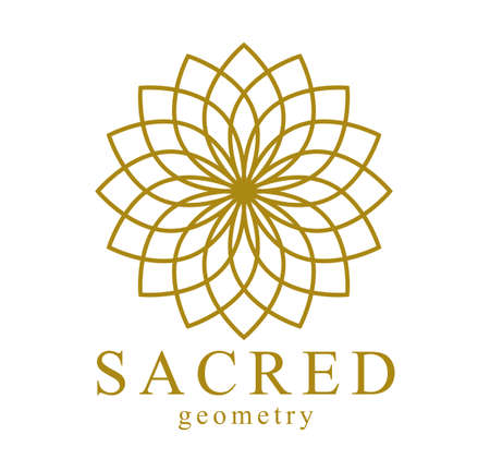 Flower of Life ancient symbol beautiful elegant vector  or emblem isolated over white background, sacred geometry design element, esoteric sign.