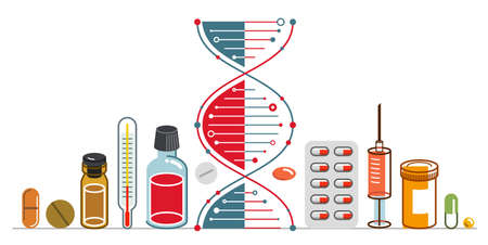 DNA strand based medical theme composition with lots of different drugs and meds vector illustration isolated, drugstore or medical biotechnology scientific research.