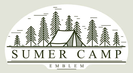 Camping tent in pine forest vector linear emblem isolated on white, holidays and vacations in woods line art, design wanderlust