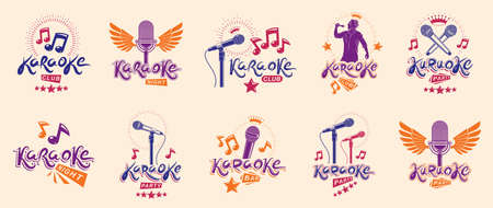 Karaoke party or club   and emblems vector set isolated, singing music nightlife entertainment weekend theme, microphones and musical notes compositions.