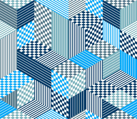 Seamless cubes vector background, rhombus and triangles boxes repeating tile pattern, 3D architecture and construction, geometric design.
