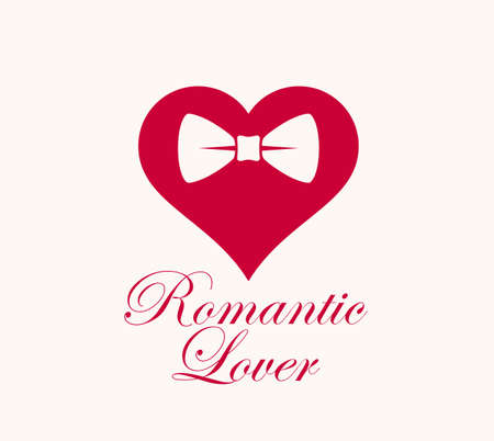 Heart with bowtie romantic  gentleman hipster vector logo or icon. Illustration