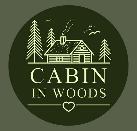 Cabin in woods with pine trees linear vector nature emblem on dark, log cabin cottage for rest, holidays and vacations theme line art drawing, woodhouse resort Illustration