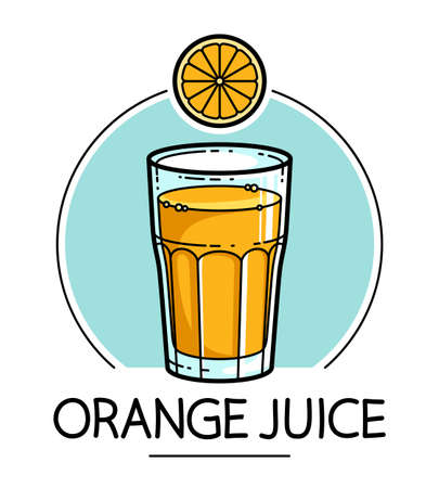 Orange juice in a glass isolated on white background vector illustration, cartoon style  or badge for pure fresh juice, diet food beverage delicious and healthy.
