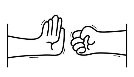 One hand stops another with aggressive clenched fist stop violence concept, vector flat style cartoon isolated on white, against cruelty and crime. Illustration