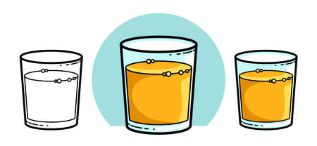 Orange juice in a glass isolated on white background vector illustration 3 versions set, cartoon style  or badge for pure fresh juice, diet food beverage delicious and healthy. Illustration
