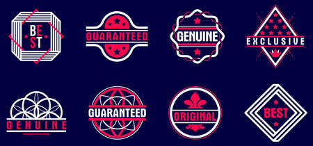 Premium best quality vector emblems set over dark, badges   collection for different products and business, classic graphic design elements, insignias and awards.