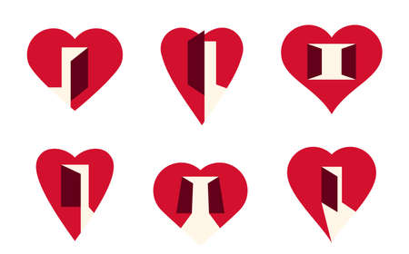 Hearts open with doors vector simple icons or  set, graphic design elements with concept of being open for new feelings, help aid and assistance idea, care and family.