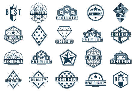 Badges and  collection for different products and business, black and white premium best quality vector emblems set, classic graphic design elements, insignias and awards.
