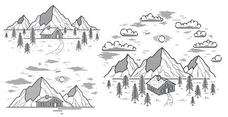 Cabin in mountains linear vector nature illustration isolated on white, log cabin cottage for rest in pine forest, holidays and vacations theme line art drawing. Illustration