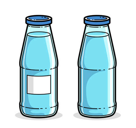 Bottle of water vector illustration isolated on white, pure fresh drinking water cartoon style icon. Illustration