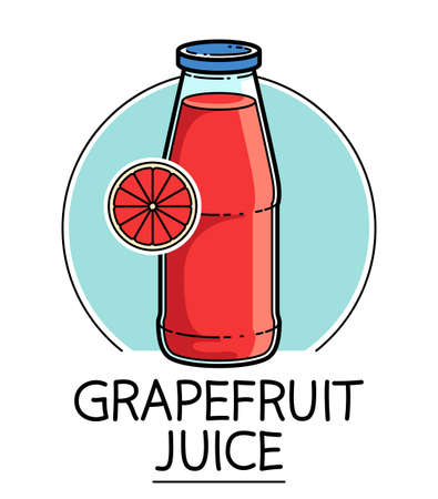 Grapefruit juice in a glass bottle isolated on white background vector illustration, cartoon style  or badge for pure fresh juice, diet food beverage delicious and healthy.