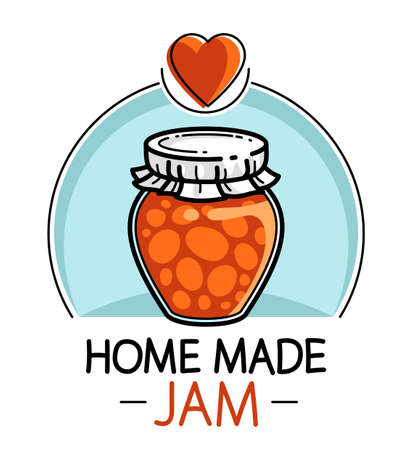 Jar of jam isolated on white vector emblem or illustration in cartoon style, delicious and healthy natural food homemade marmalade.