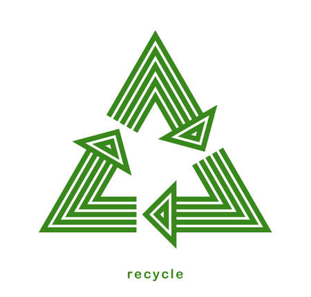 Recycle vector triangle icon in modern geometric linear style isolated on white, contemporary line symbol of environmental conservation.