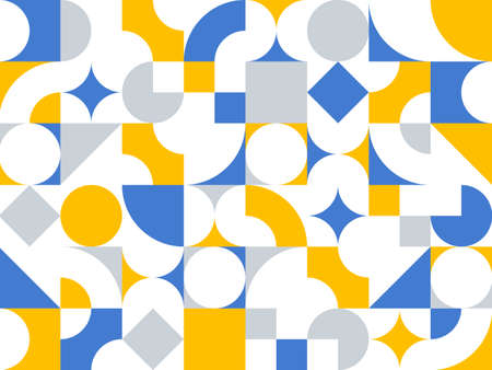 Geometric abstract seamless pattern with colorful simple elements of geometry, wallpaper background in retro 70s style, Bauhaus constructive style tiles.
