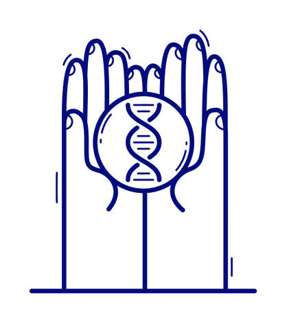 Two hands with DNA icon protecting and showing care vector flat style illustration isolated on white, cherish and defense for health concept, medical research.