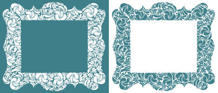 Decorative blank classic style border vector vintage design, floral frame made of leaves, luxury beautiful background, invitation or greeting card with place for text.