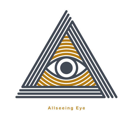 All seeing eye in triangle pyramid vector ancient symbol in modern linear style isolated on white, eye of god, masonic sign, secret knowledge illuminati.